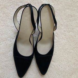 GIORGIO ARMANI BLACK SATIN SLING BACK HEELS PUMPS